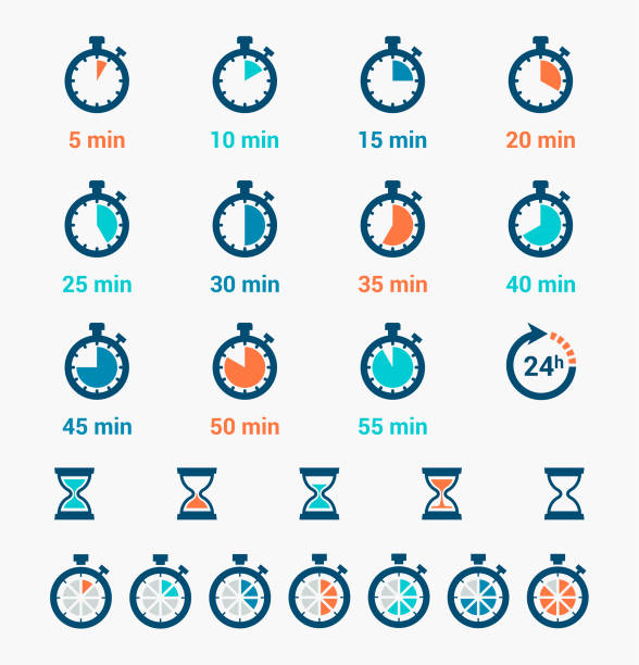 Time Clock Icons Set vector art illustration