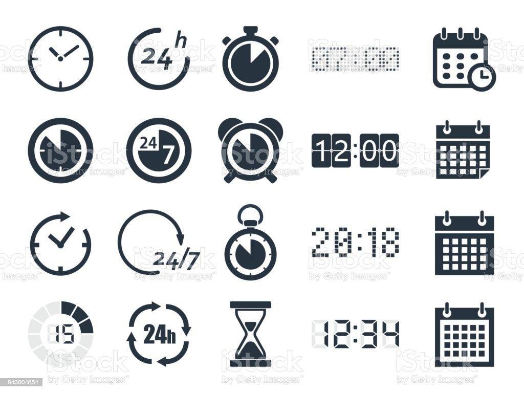 Horloge pointeuse icônes horloge pointeuse icônes vecteurs libres de droits et plus d'images vectorielles de abstrait libre de droits