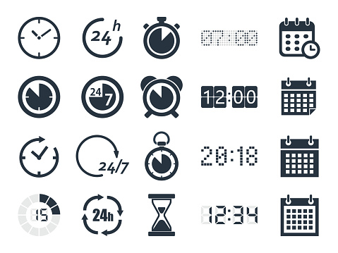 time clock icons clipart