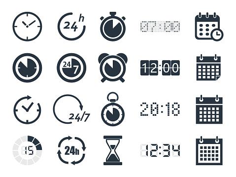 Time Clock Icons - Stockowe grafiki wektorowe i więcej obrazów Abstrakcja