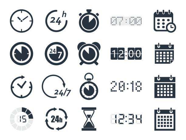 time clock icons vector art illustration