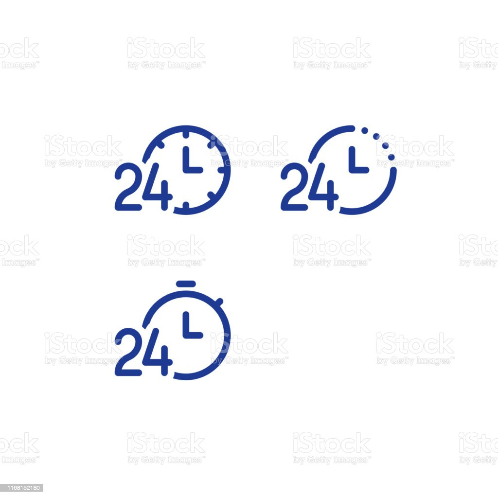 24 hours service daily, fast time logo, stop watch symbol, time...