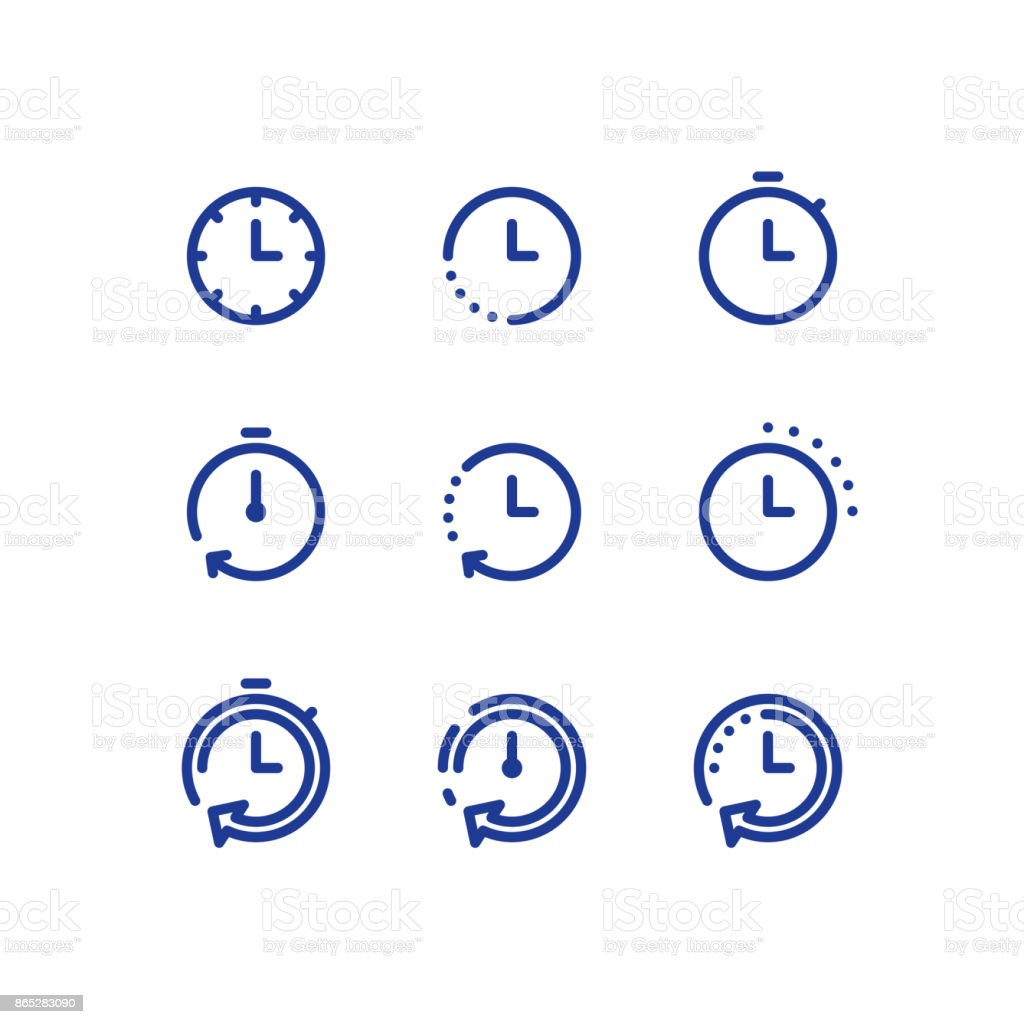 Time clock line icon set, fast delivery, quick service, working hours vector art illustration