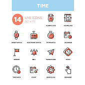Time concept - line design icons set