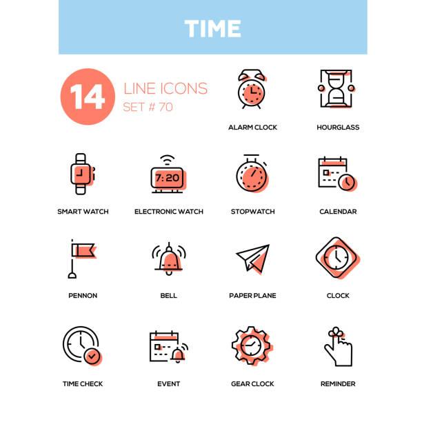 Time concept - line design icons set vector art illustration
