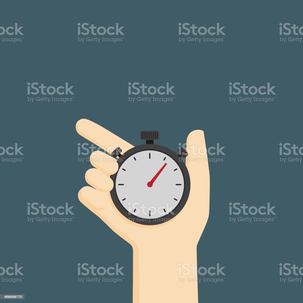 Time control illustration, hand holding analog stopwatch vector art illustration