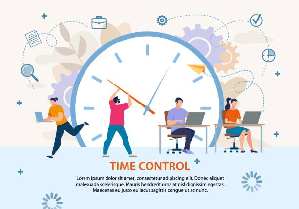 Time Control Project Management Business Poster Time Control and Planning. Project Management and Workflow Development. Profitable Business. Flat Poster. Cartoon Workers in Metaphor Office Doing Job. Vector Huge Alarm Clock Illustration time stock illustrations