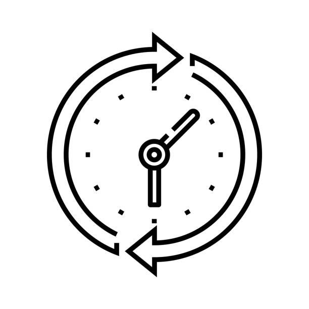 time cycle line icon, concept sign, outline vector illustration, linear symbol - oś czasu pomoc wizualna stock illustrations