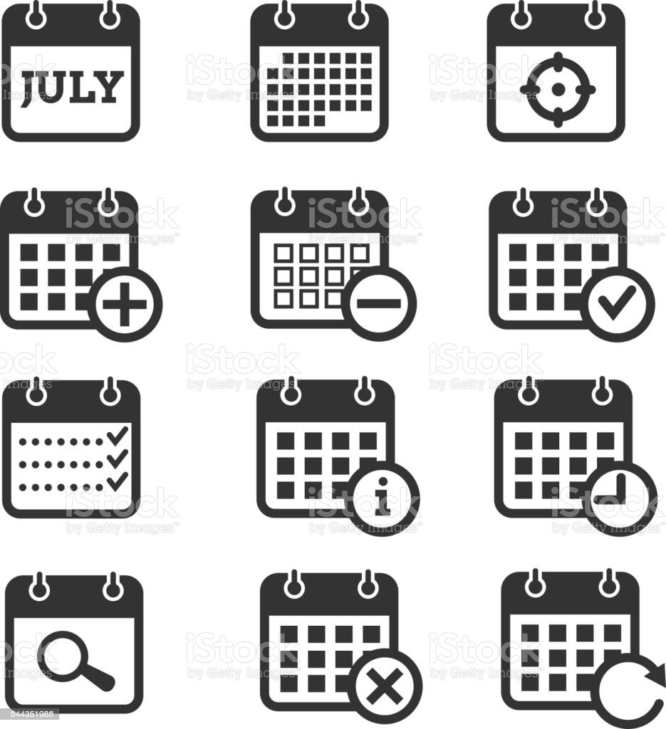 Calendar Day Vector Art : Time date and calendar vector icons stock art