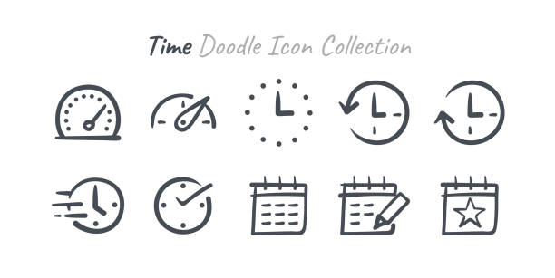 time doodle icon collection - save the date calendar stock illustrations, clip art, cartoons, & icons