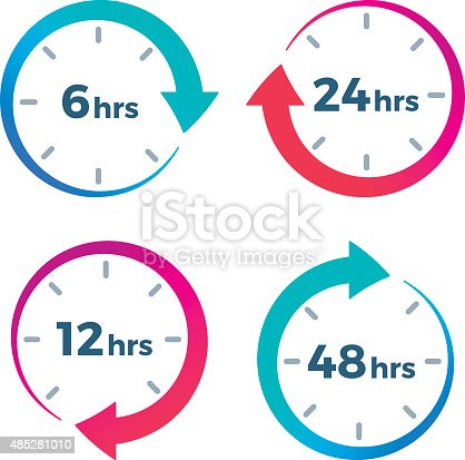 Time elapsed arrow symbols showing 6 hours, 12 hours, 24 hours and 48 hours. EPS 10 file.