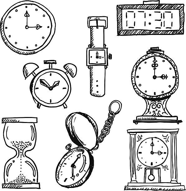 Time elements in black and white vector art illustration
