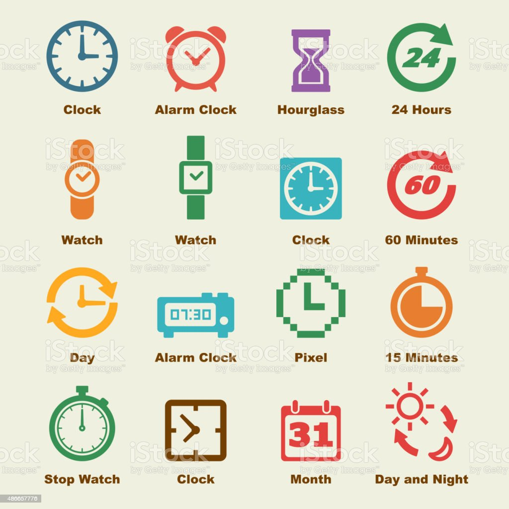 time elements vector art illustration