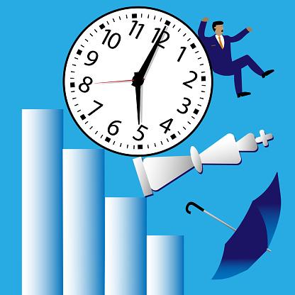 Clock rolls down bar graph, knocking down chess piece, umbrella and investor.