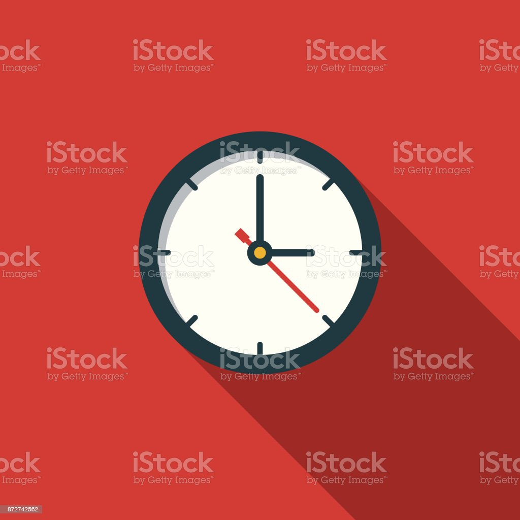 Time Flat Design Education Icon with Side Shadow A flat design styled education icon with a long side shadow. Color swatches are global so it's easy to edit and change the colors. Back to School stock vector