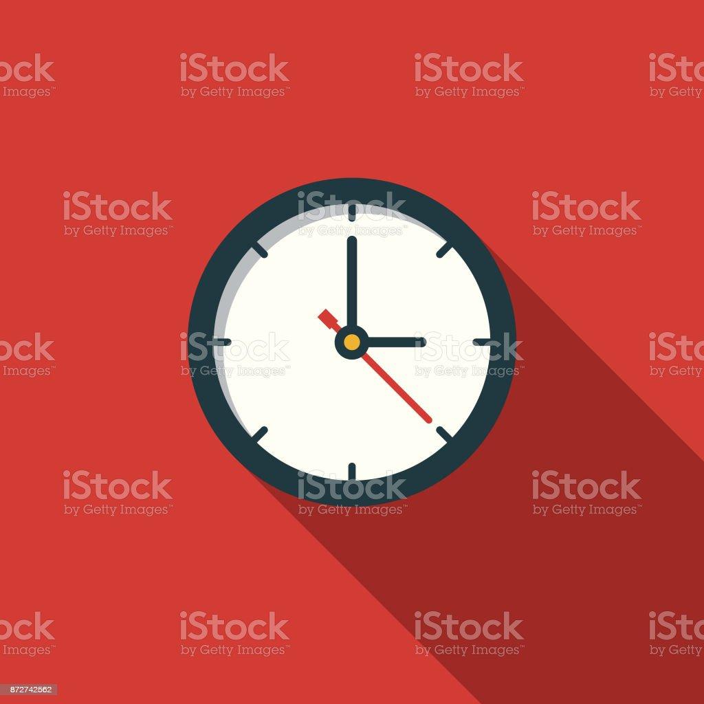 Icône de l'éducation heure Design plat avec côté ombre - clipart vectoriel de Aiguille des secondes libre de droits