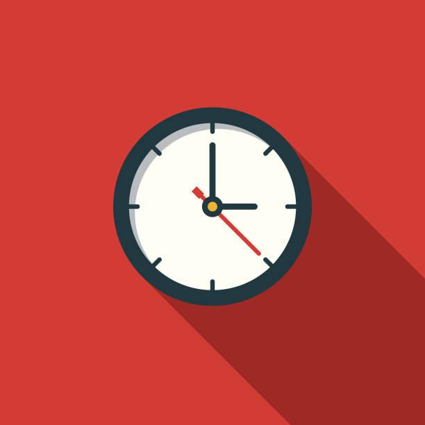 time flat design education icon z cieniem bocznym - czas stock illustrations