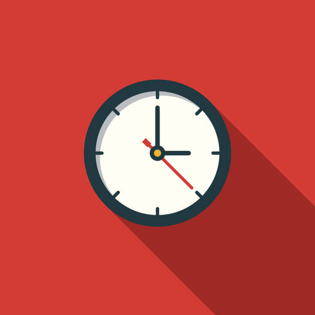Time Flat Design Education Icon with Side Shadow A flat design styled education icon with a long side shadow. Color swatches are global so it's easy to edit and change the colors. clock stock illustrations