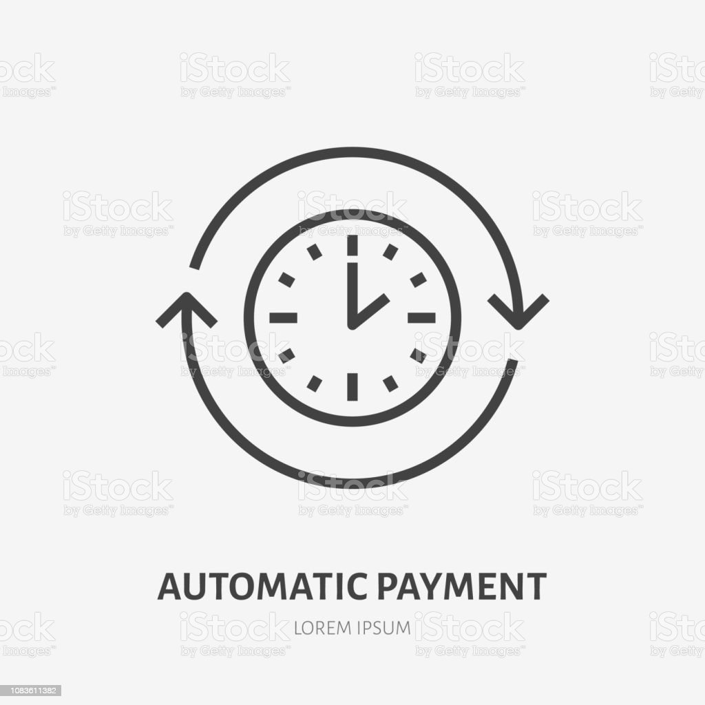 Time flat line icon. Automatic payment concept sign. Thin linear logo for quick loan, cash transfer, round the clock delivery vector illustration royalty-free time flat line icon automatic payment concept sign thin linear logo for quick loan cash transfer round the clock delivery vector illustration stock illustration - download image now