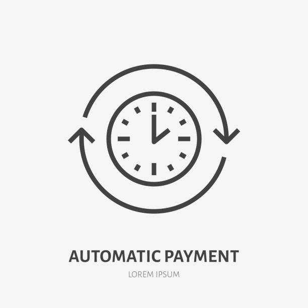 Time flat line icon. Automatic payment concept sign. Thin linear logo for quick loan, cash transfer, round the clock delivery vector illustration Time flat line icon. Automatic payment concept sign. Thin linear logo for quick loan, cash transfer, round the clock delivery vector illustration. automatic stock illustrations