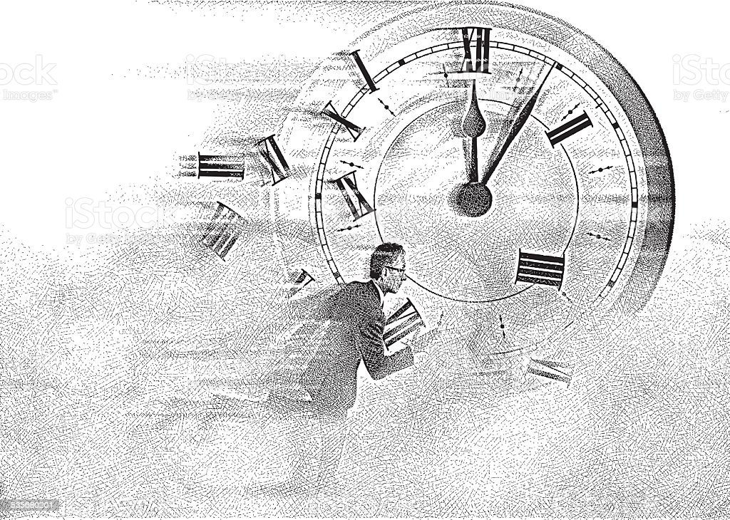 Time Flies vector art illustration