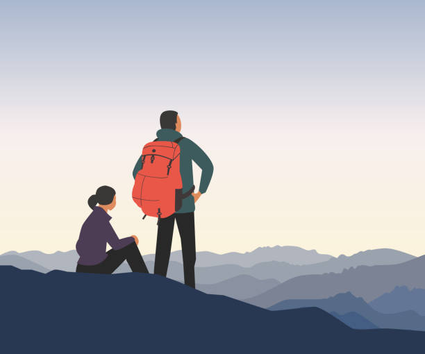 Time for adventures Mountain valley landscape. Adventure tourism trip vacation background. Wild nature scenic view poster. Young couple of tourists in high mountains. Minimal style outdoors scene. Vector illustration young couple stock illustrations