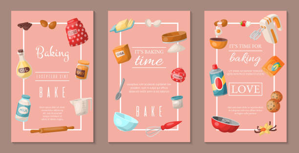 ilustrações de stock, clip art, desenhos animados e ícones de time for baking set of banners. baking ingredients and kitchen tools and utensils. collection of realistic cartoon vector illustrations with cooking related objects. honey, flour, soda. - baking bread at home