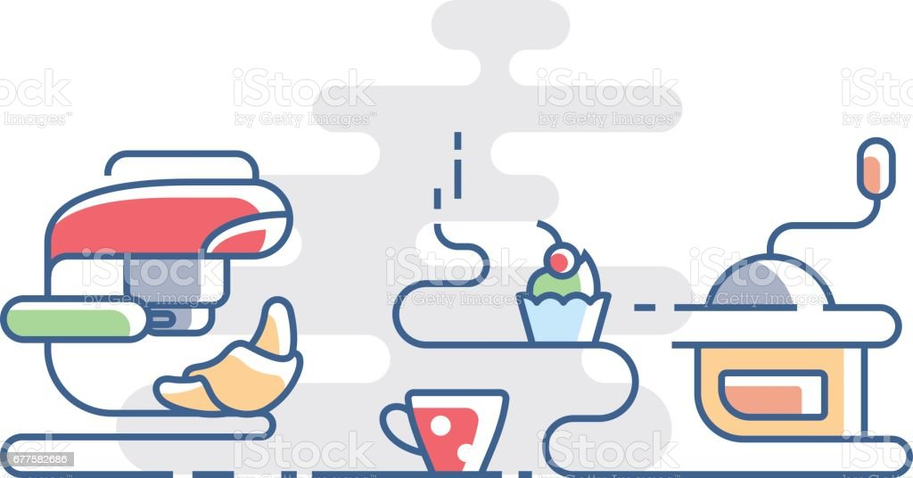 Time for coffee with croissant royalty-free time for coffee with croissant stock vector art & more images of abstract