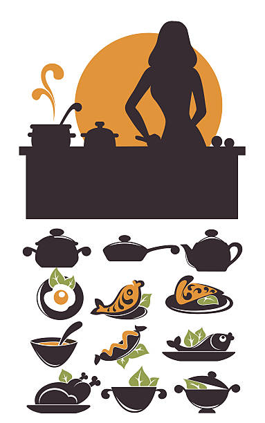 ilustrações de stock, clip art, desenhos animados e ícones de tempo de cozinhado, frequentes alimentos e todos os dias, mea - woman eating salmon