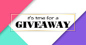 Time for giveaway. Vector banner for social media promotion. Facebook link size