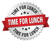 time for lunch 3d silver badge with red ribbon