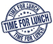 time for lunch blue grunge round vintage rubber stamp