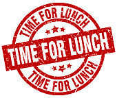 time for lunch round red grunge stamp