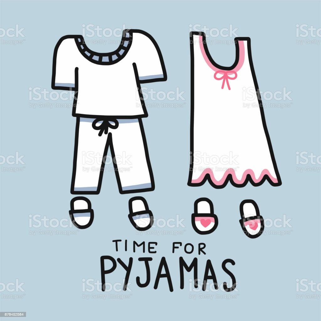Time for Pyjamas (Pajamas) word and cartoon vector illustration vector art illustration