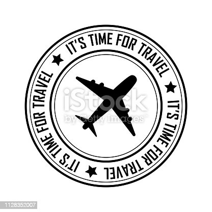 Time for travel postal stamp icon, black isolated on white background, vector illustration.