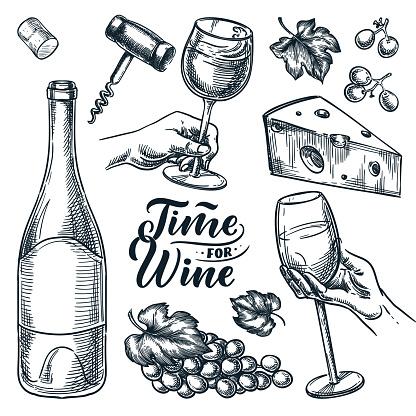 Time for wine vector hand drawn sketch illustration. Human hand holding wine glass. Doodle vintage design elements set