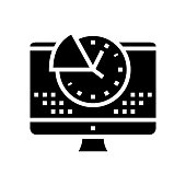time for working on computer glyph icon vector. time for working on computer sign. isolated contour symbol black illustration