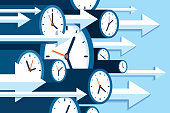 istock Time forward. 3d Clock icons in flat style, right arrows, timers on blue background. Time management. More watch and pointers. Business vector illustration for you presentation 1177400181
