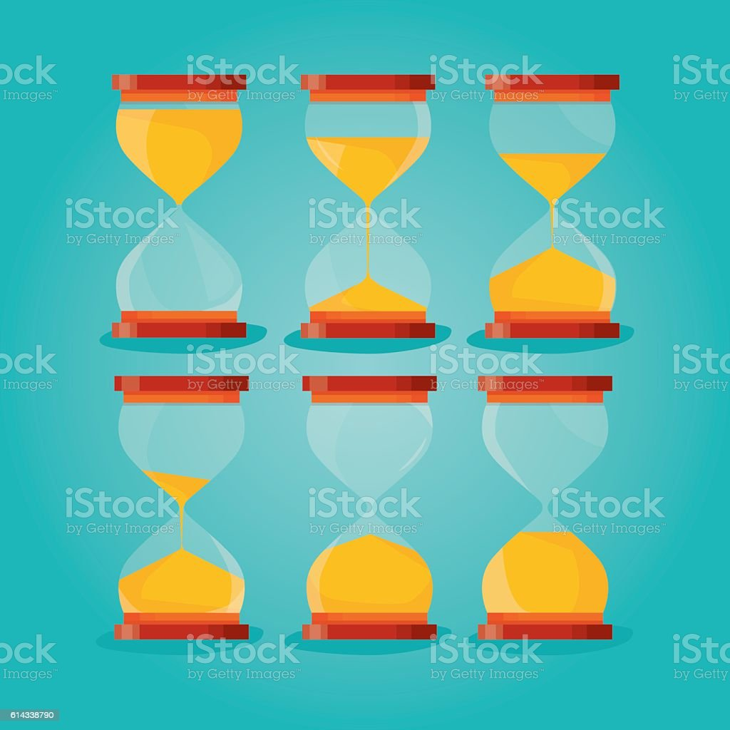 Time hourglass, sandclock process timer vector art illustration