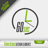 Time Icon 60 Seconds Symbol Vector Design Elements