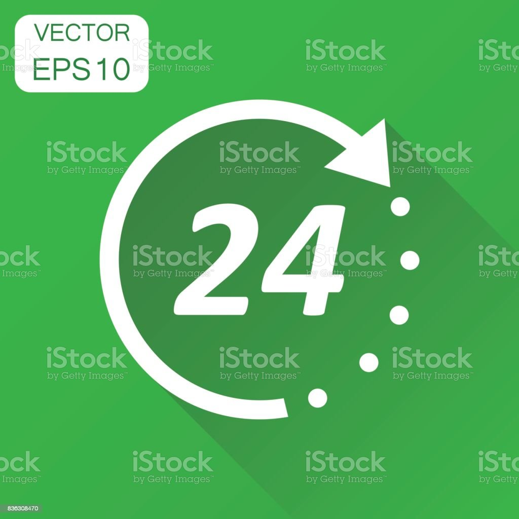 Time icon. Business concept 24 hours clock pictogram. Vector illustration on green background with long shadow. vector art illustration