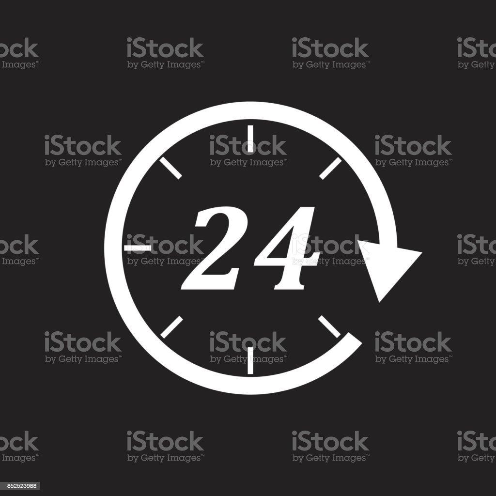 Time icon. Flat vector illustration 24 hours on black background. vector art illustration