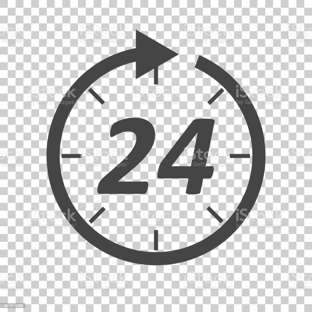 Time icon. Flat vector illustration 24 hours on isolated background. vector art illustration
