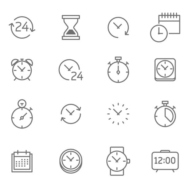 Time icon set - Illustration Symbol, Watch, 24 Hrs, Instrument of Time, Circle clock stock illustrations