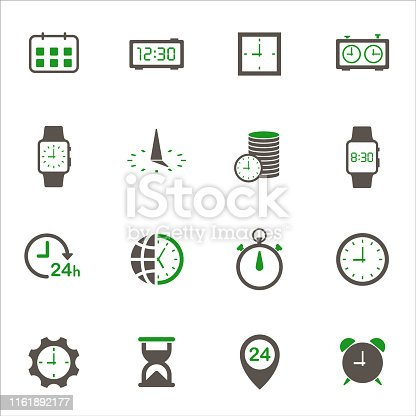 time clock simple vector icons in two colors isolated on white background. time is money business concept. time clock 2 color icons for web and ui design