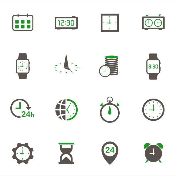 時間アイコンセット - 出勤点のイラスト素材/クリップアート素材/マンガ素材/アイコン素材