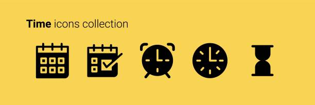 time icons collection - save the date calendar stock illustrations, clip art, cartoons, & icons