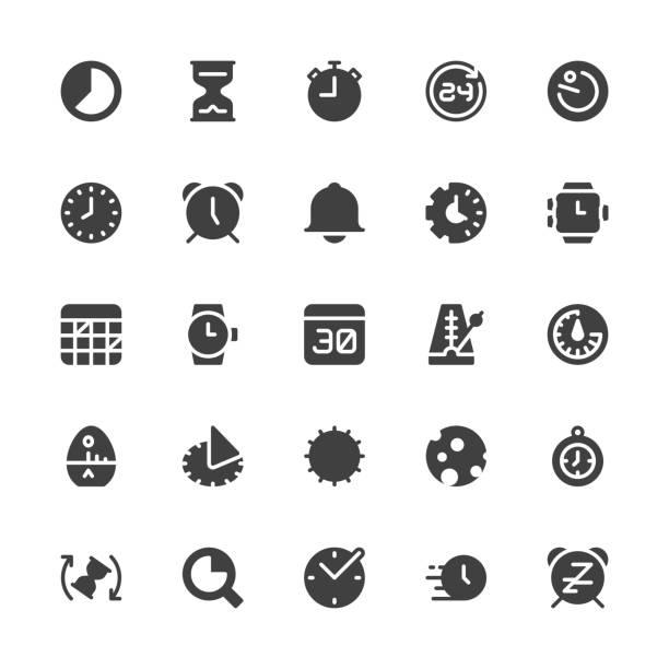 Time Icons - Gray Series Time Icons Gray Series Vector EPS File. daylight savings stock illustrations