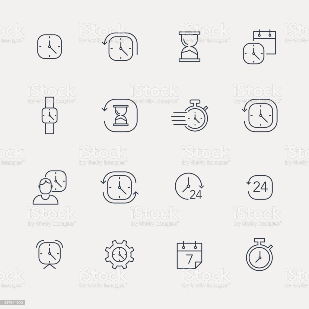 Time Icons - Line Series vector art illustration