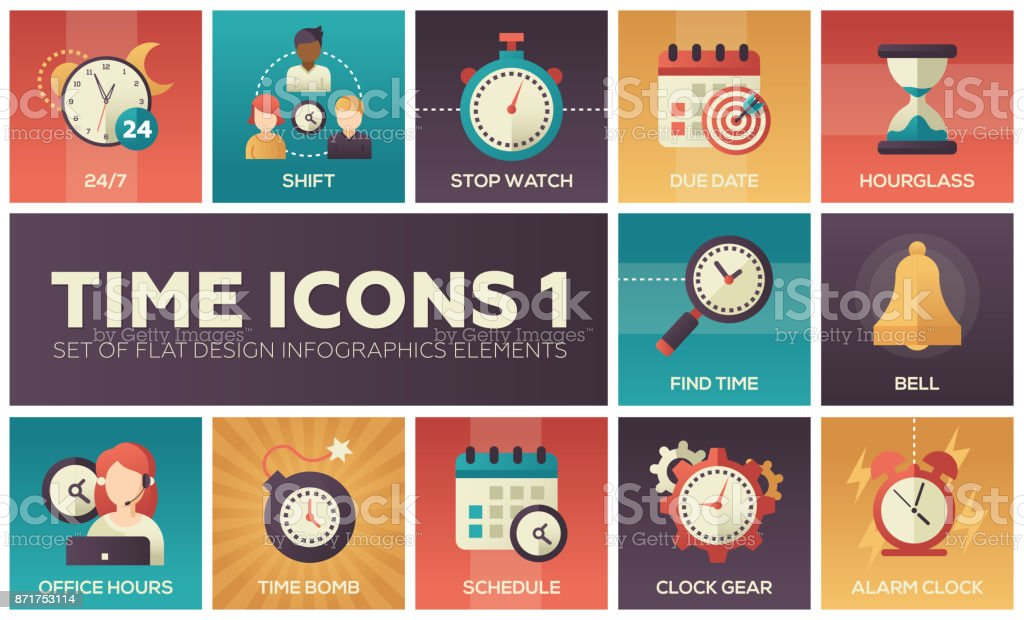 Time icons - modern set of flat design infographics elements vector art illustration